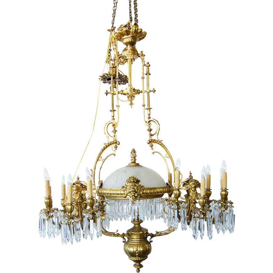 7708 19th Century French Gilt Bronze Figural Bronze and Crystal 14-light Chandelier
