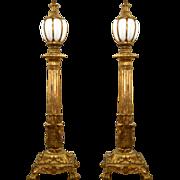 7712 Pair of Antique Bronze Torchères