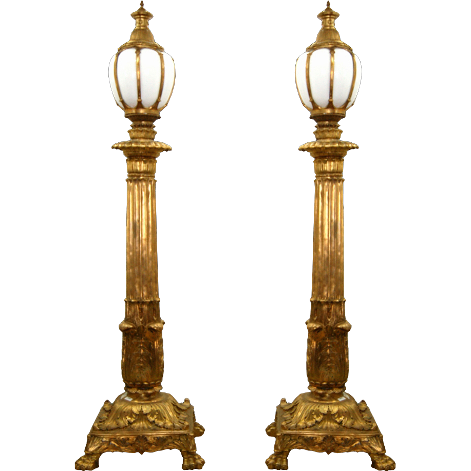 7712 Pair of Antique Bronze Torchères
