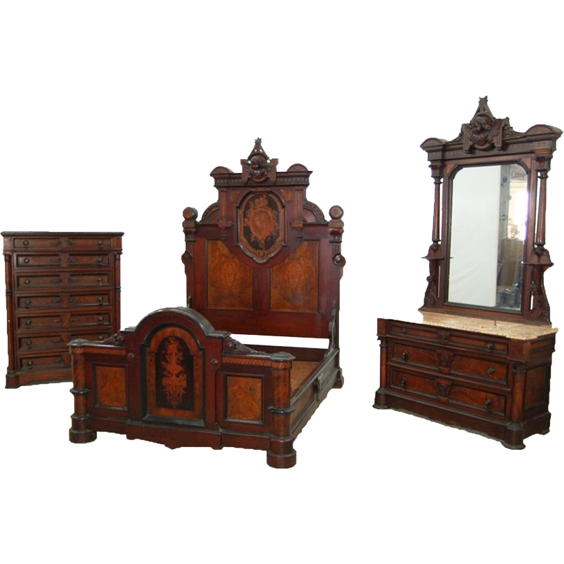 7731 Original Condition Renaissance Revival Bedroom Suite, 3- pieces, Richly carved and Inlaid, by Gustave Herter & August Pottier, 1855