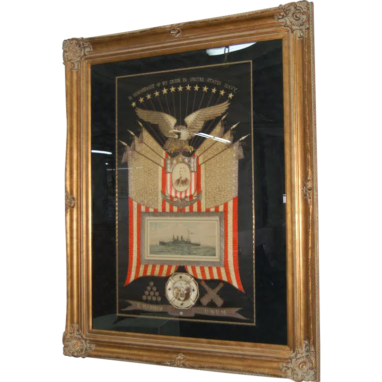 7732 Framed Japanese Silk Naval Embroidery Memorabilia c. 1905