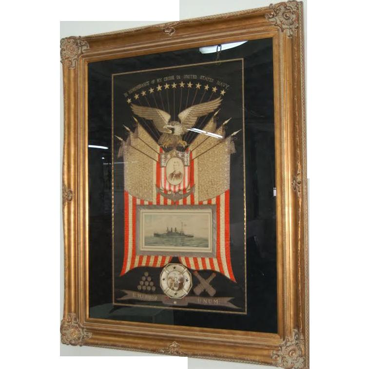 7732 Framed Japanese Silk Naval Embroidery Memorabilia c. 1905