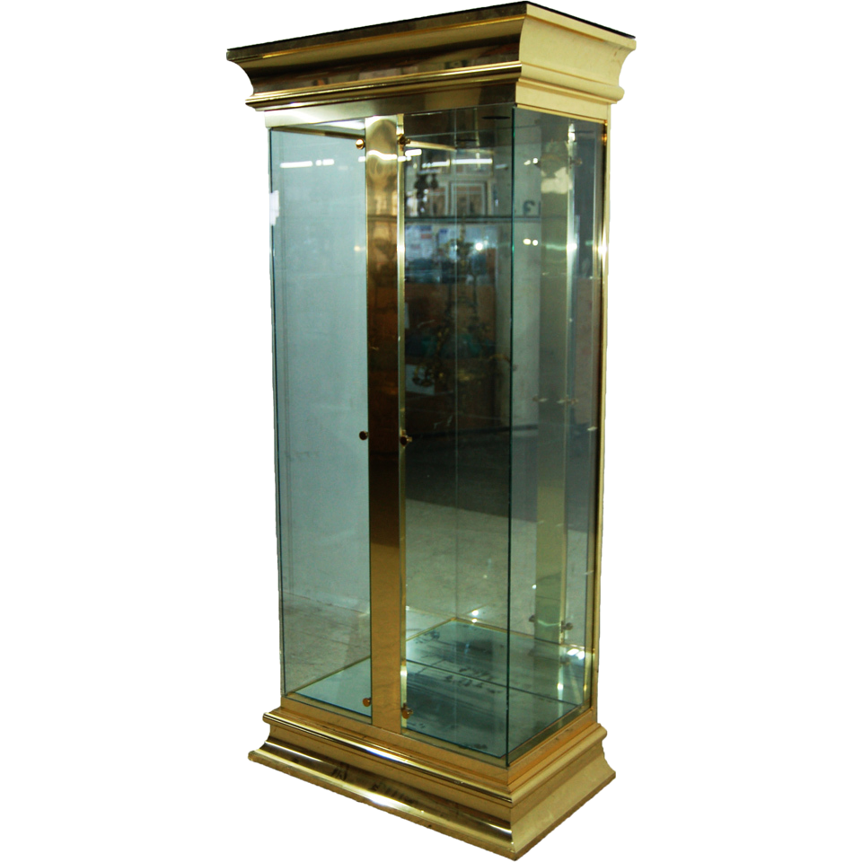 7749 20th Century Brass and Glass Display Cabinet