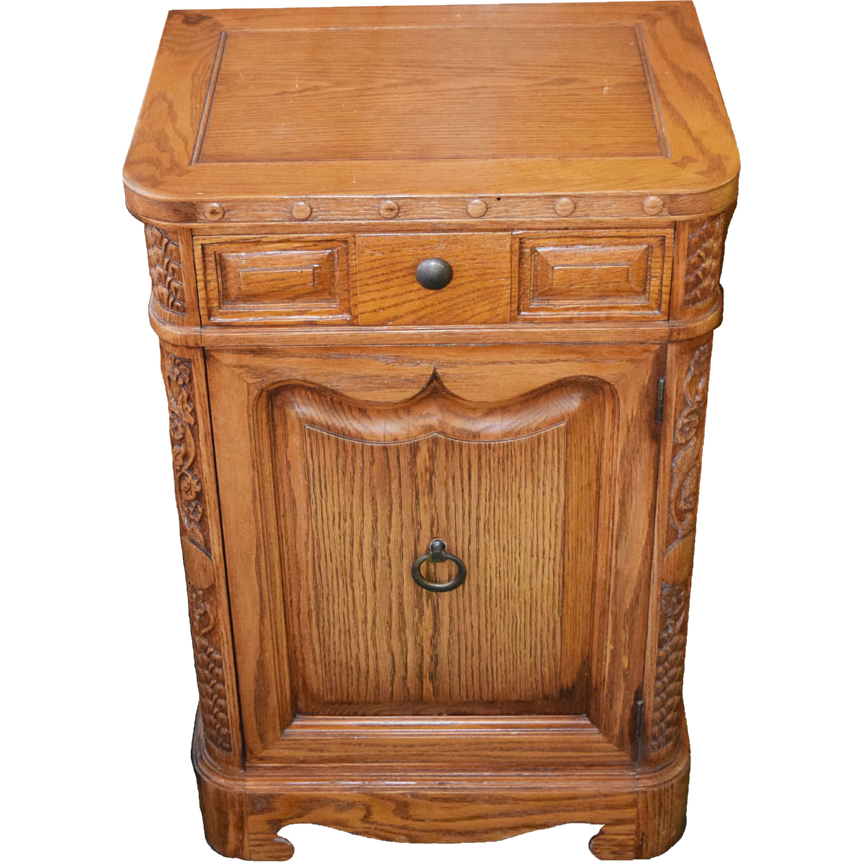 7768B American Oak Cabinet, Elegantly Carvings and Details
