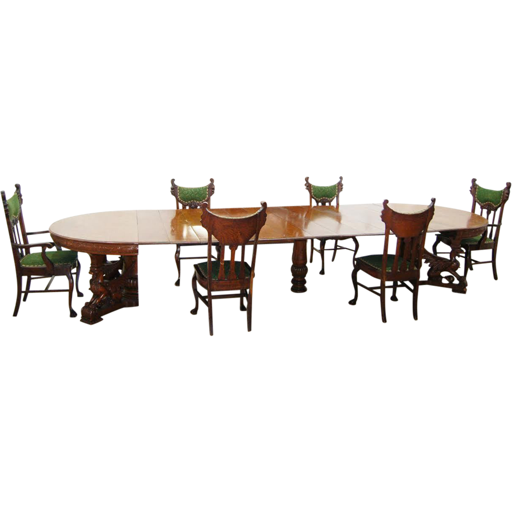 RJ Horner Victorian Oak Dining Room Suite 8-Pc c.1880