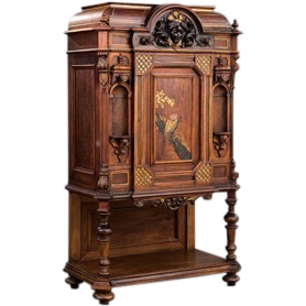 An American Renaissance Carved, Parcel Gilt and Gilt-Incised Rosewood Cabinet by Herter Bros, NY