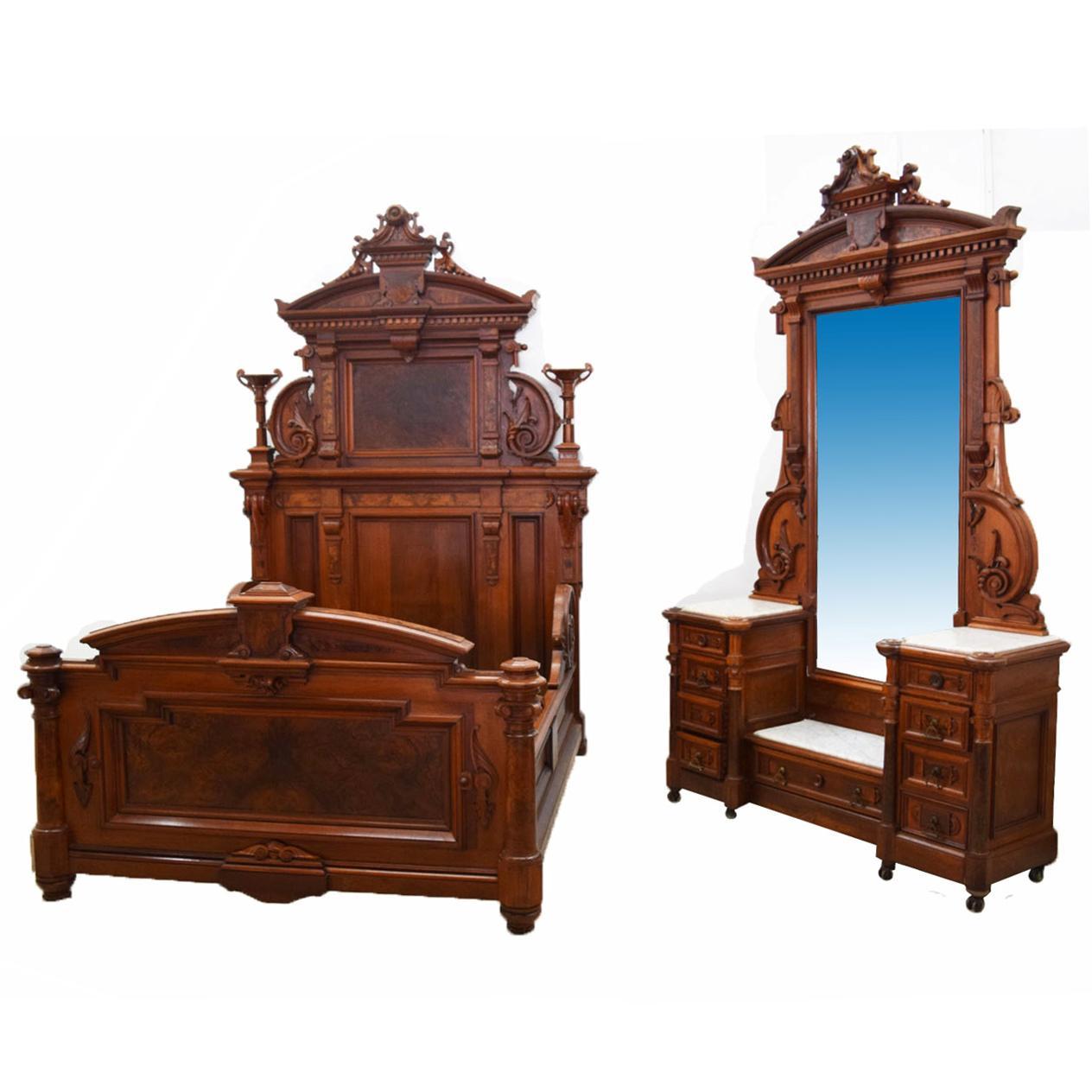 Renaissance Bedroom Furniture Renaissance Revival Bedroom Suite Walnut And Burl C 1870 By