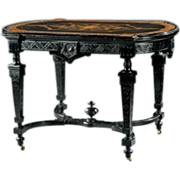 American Renaissance Carved and Ebonized Marquetry Center Table, c. 1865
