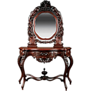 American Rococo Carved Walnut Dressing Table, mid-19th c.