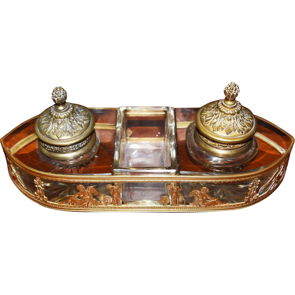 7785 French Louis XV bronze Inkwell, c. 1885