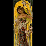 "Mary Golay ""Iris Seduction' A French Art Nouveau Decorative Panel, c.1899"