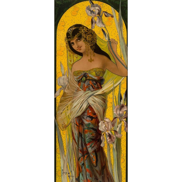 "Mary Golay ""Iris Seduction' A French Art Nouveau Decorative Panel, c.1899"