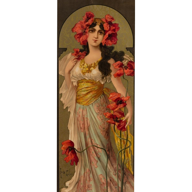 "Mary Golay ""Adorned with Poppies"" A French Art Nouveau Decorative Panel, c.1899"