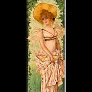 """Mary Golay """"Saison Nouvelle"""" A French Art Nouveau Decorative Panel, c.1899"""