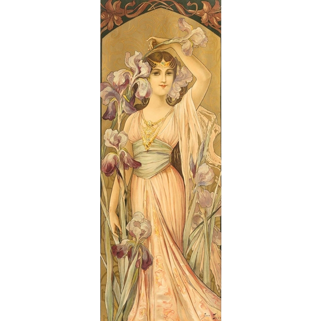 "Mary Golay ""Elegante'"", A French Art Nouveau Decorative Panel, c.1899"