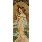 """Mary Golay """"He Loves Me, He Loves Me Not"""", A French Nouveau Decorative Panel, c.1899"""
