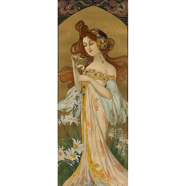 "Mary Golay ""He Loves Me, He Loves Me Not"", A French Nouveau Decorative Panel, c.1899"