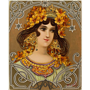 """Mary Golay, """"Maiden with Flowers"""" c.1899, French Art Nouveau Color Lithograph"""