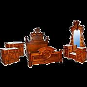 Antique 4-Pc. American Renaissance Revival Kingsize Walnut Bedset by Thomas Brooks