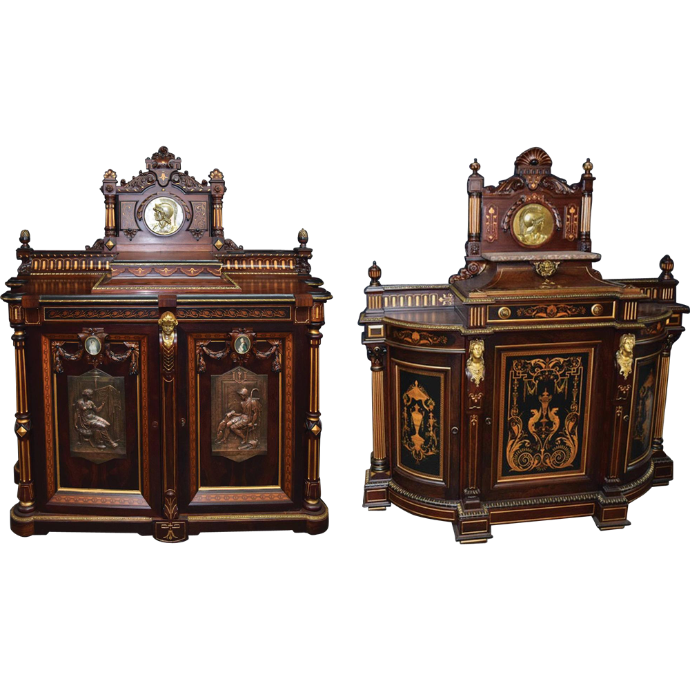 7809 Pair of Pottier & Stymus Marquetry Rosewood Credenzas, American, c. 1875