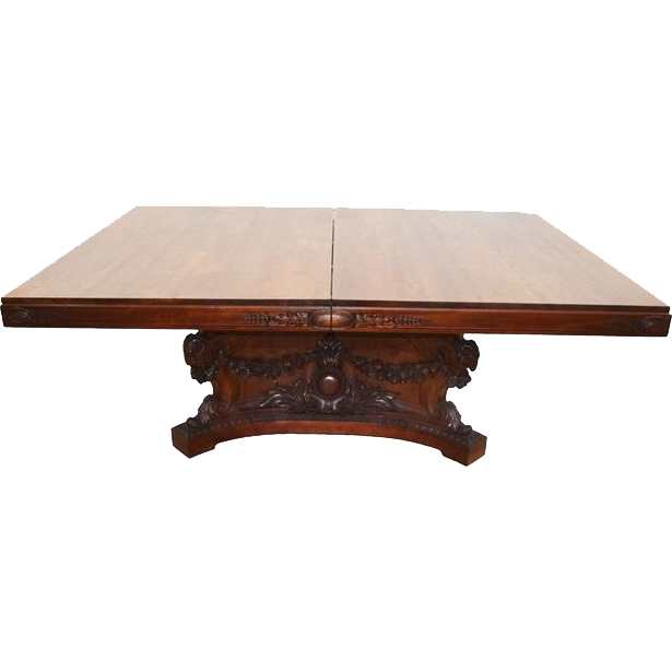7810 Renaissance Revival Heavily Tobey Dining Room Table with 8 Skirted Leaves, c.1860 TOBEY Furniture Company, Chicago