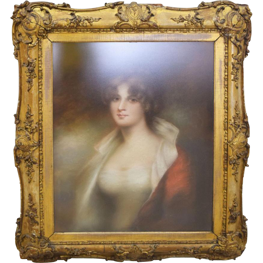 Portrait of a Lady, Oil Under Glazed Glass in Gilt Frame.