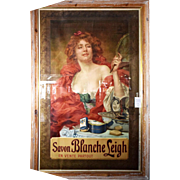 7828 French Art Nouveau Savon Blanche Leigh Poster in Original Frame c. 1899