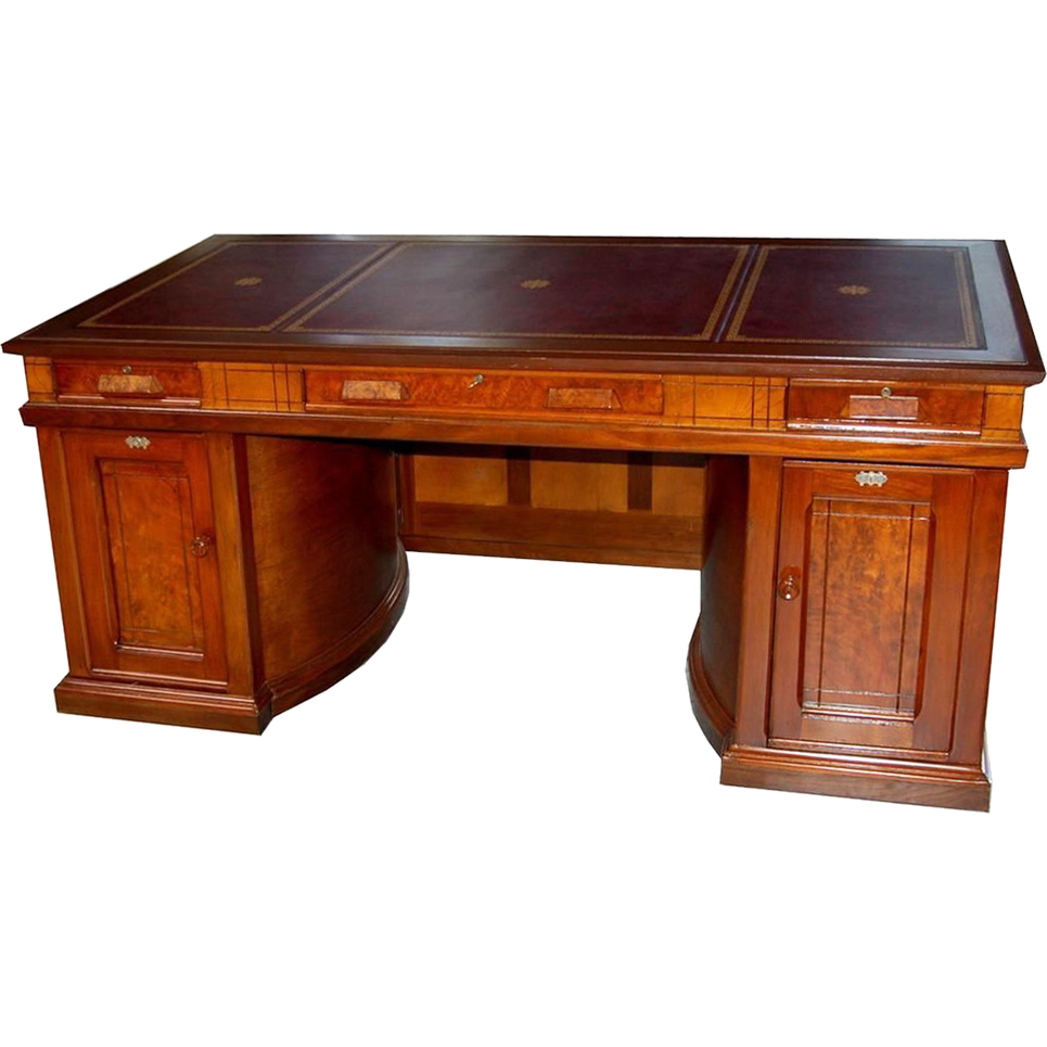 789 Rare Antique 19th C. American Walnut Victorian Flat Top Desk by Wooton