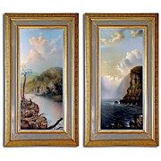 7937 Pair of 19th C. Landscape Paintings Signed Brewerton