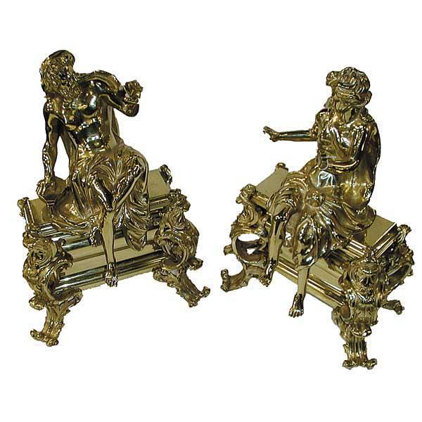 4723 Beautiful Pair of French Bronze Figural Chenets