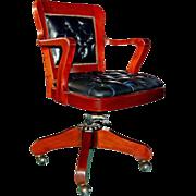 8381 American Oak Bucket Swivel Chair in Black Leather