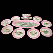 5586 Hand Painted 10-Pc. Fish Plate Set by Haviland & Co.