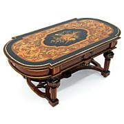 913 19th C. Renaissance Revival Inlaid Antique Coffee Table