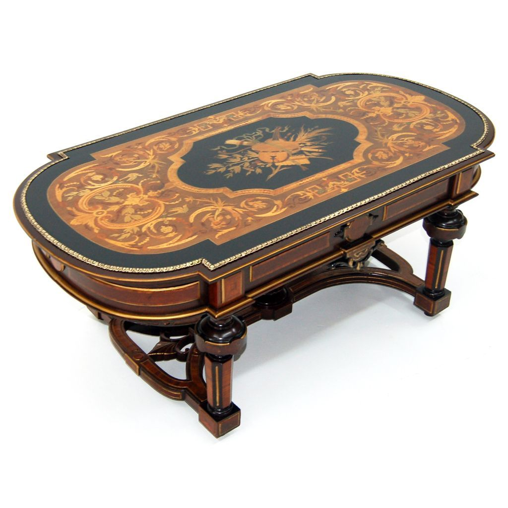 913 19th C. Renaissance Revival Inlaid Antique Coffee Table