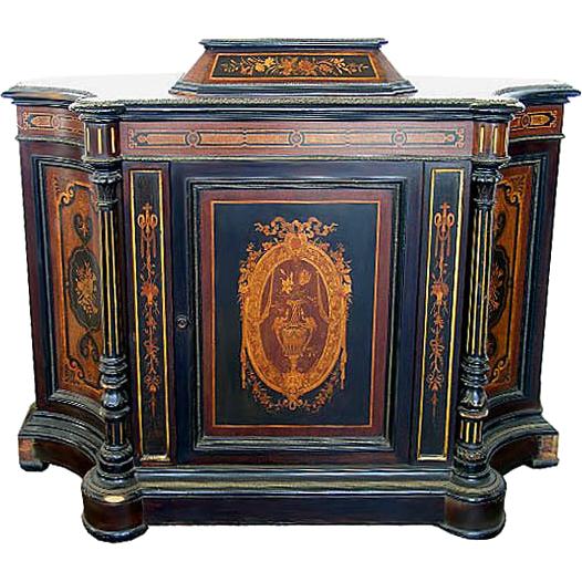 9166 Inlaid & Ebonized Cabinet with Bronze Trim