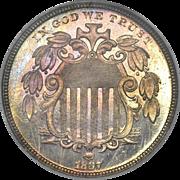 C0091 Proof Shield Nickel, 1867 NGC 5C PR66 ★ Cameo with Rays