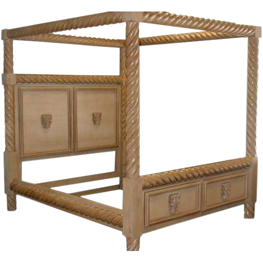 ES004 20th C. Bleached Wood Canopy Bedset