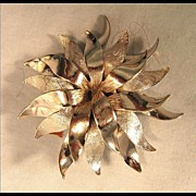 Silver-tone Pinwheel Style Pin Brooch Signed Roger