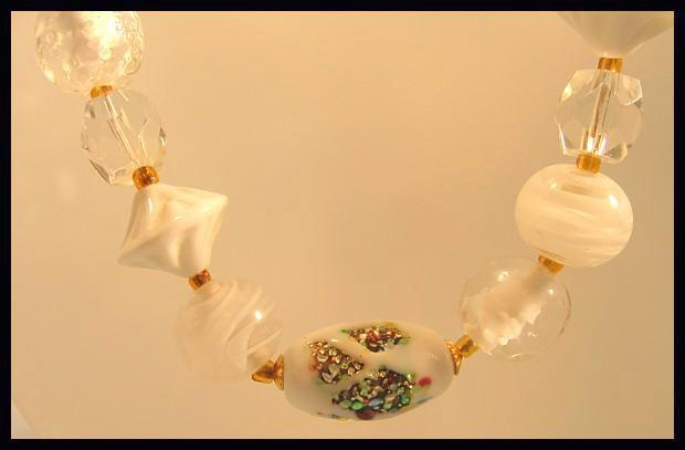 Yummy White Glass Bead Necklace