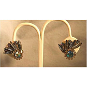 Blue Rhinestone Clip Earrings with Fruit Salad Stones