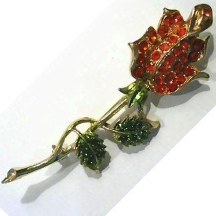 Elegant Rhinestone Rose Pin