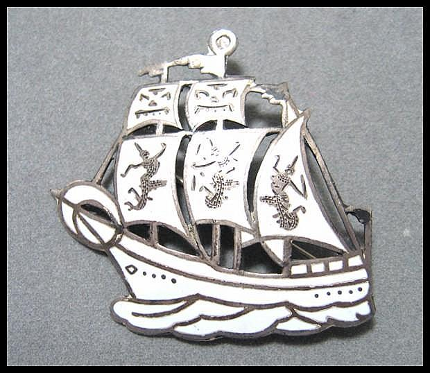Unique Siam Sterling Sailing Ship Pin
