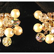 Kramer Rhinestone, Crystal and Faux Pearl Earrings