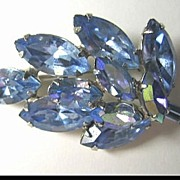 Petite Bright Blue Rhinestone Pin