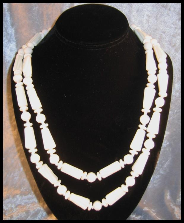 Ultra Long Miriam Haskell White Plastic Bead Necklace