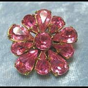 Perky Petite Pink Pin Rhinestone Brooch
