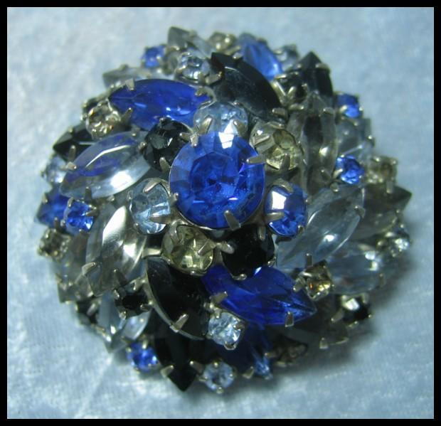 Dimensional Blue Rhinestone Pin
