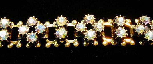 Sweet and Pretty Bracelet with Aurora Borealis Rhinestones