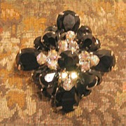 Stunning Juliana Dimensional French Jet and Aurora Borealis Pin