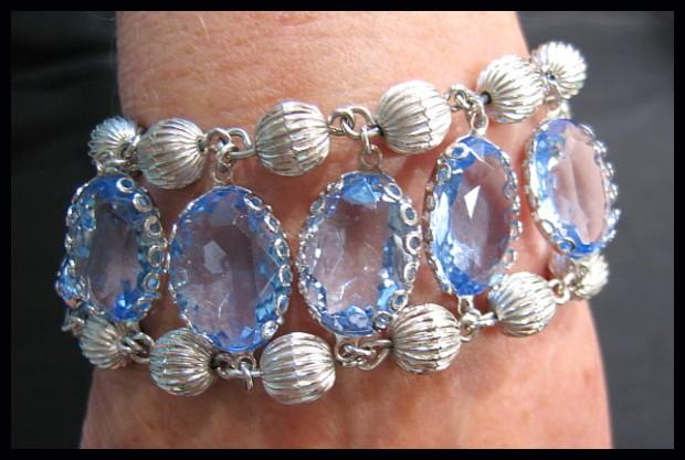Amazing Coro Pegasus Blue Crystal and Silver-tone Bead Bracelet
